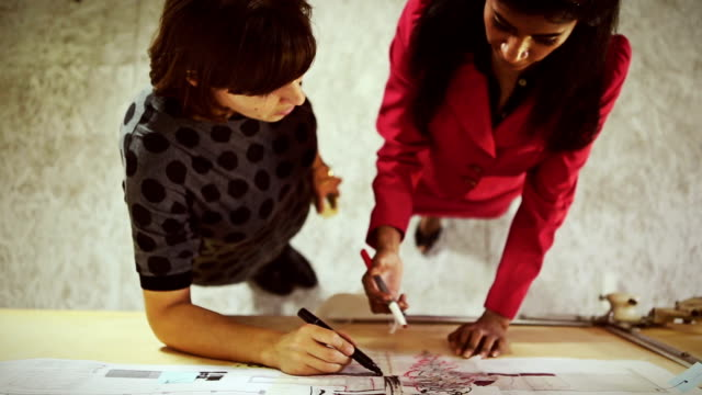 architects teamwork women in the startup office - image stock videos & royalty-free footage