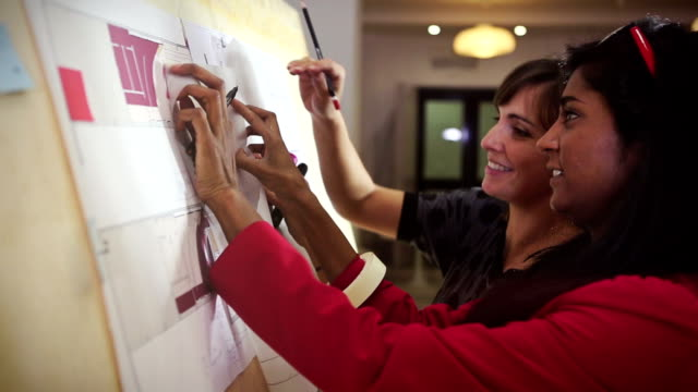 architects teamwork women in the startup office - coworking stock videos & royalty-free footage