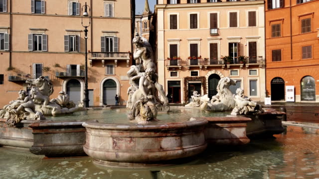 architectural detail fountain of neptun in piazza navona, rome - piazza navona stock videos & royalty-free footage