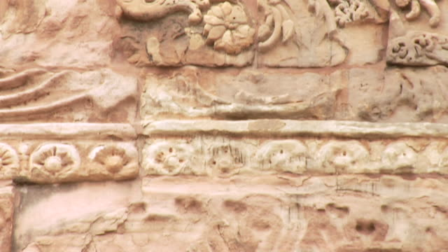 cu tu architectural detail of dhamek stupa / sarnath, uttar pradesh, india - stupa stock videos & royalty-free footage