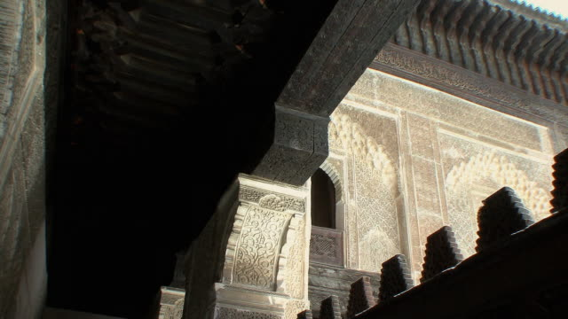 ms la pan architectural detail of madrasa bouanania, fez, morocco - madressa stock videos and b-roll footage