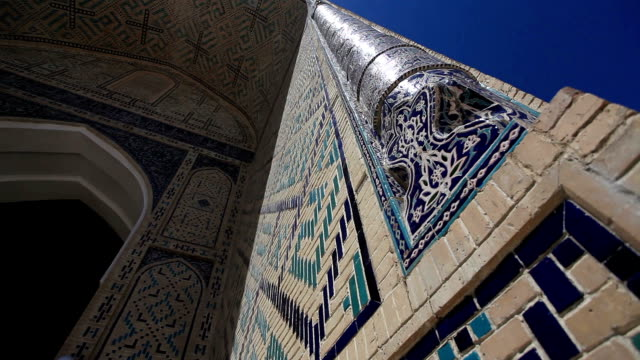 architectural detail of the facade of the mosque kalyan. - bukhara stock videos and b-roll footage