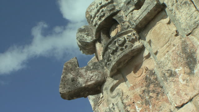 cu la architectural detail with chaacs, maya rain deity at pre-columbian ruined city of maya civilization / uxmal, yucatan, mexico - pre columbian stock videos & royalty-free footage