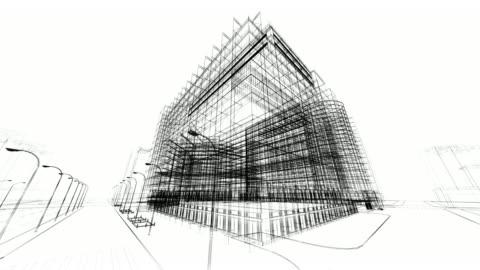 vídeos y material grabado en eventos de stock de 3 d arquitectura abstracto - plano descripción física