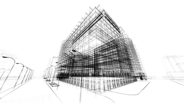 stockvideo's en b-roll-footage met 3d architecture abstract - tekening