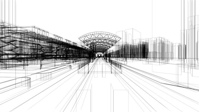 3 d architettura astratto - ferrovia video stock e b–roll