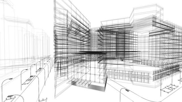 vídeos y material grabado en eventos de stock de bosquejo de la arquitectura - cianotipo plano