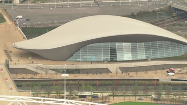 Dame Zaha Hadid dies aged 65 2012 ENGLAND London Stratford Olympic Park Aquatic Centre building ZOOM IN
