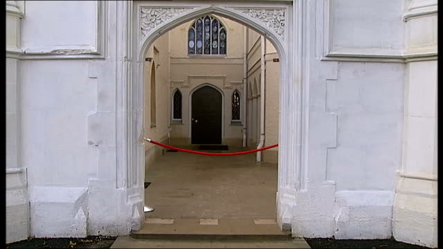 strawberry hill gothic revival house reopens close up of goldpainted dog statue side view of strawberry hill mansion entrance to courtyard various of... - courtyard stock videos and b-roll footage