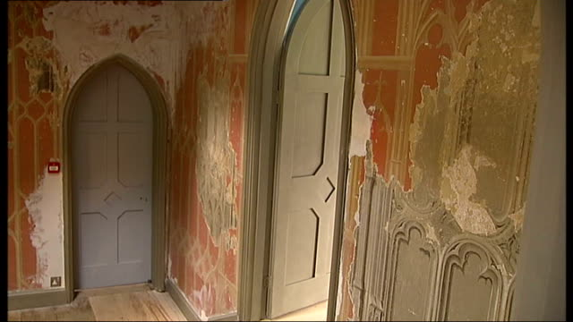 strawberry hill gothic revival house reopens * * music overlay sot * * general view of stained glass window close up of stained glass window... - gold leaf stock videos & royalty-free footage