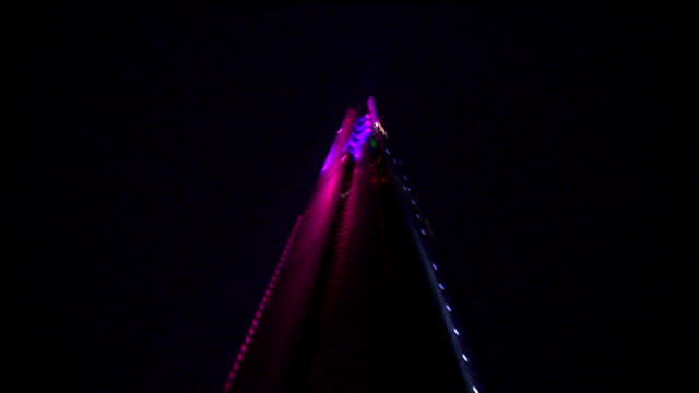 'the shard' building declared officially open laser show england london various of laser light show illuminating the shard the tallest building in... - shard london bridge stock videos & royalty-free footage