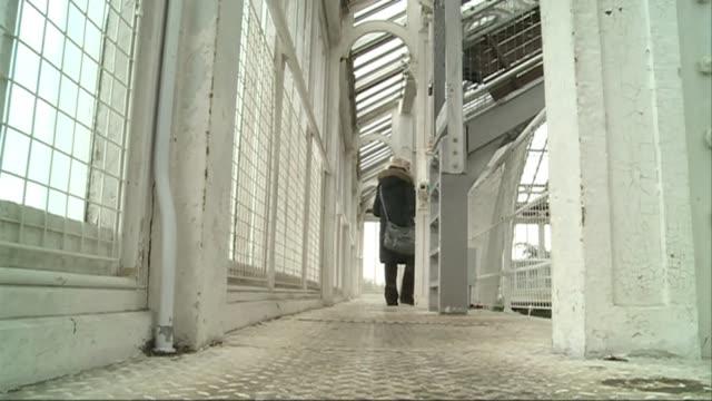 vídeos y material grabado en eventos de stock de victorian glasshouse reopens at kew gardens after five year restoration r29031301 / low angle back view woman along through glasshouse scaffolding... - ceremonia de reapertura