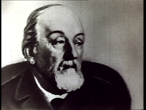 archival footage of early russian rocket scientist pioneer of astronautics konstantin tsiolkovsky at home in his garden working on books reading... - space exploration stock videos & royalty-free footage
