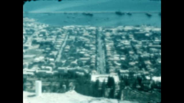 archival home movie of haifa with the bahai temple and the shrine of bab under construction just after the war of 1948 - haifa video stock e b–roll