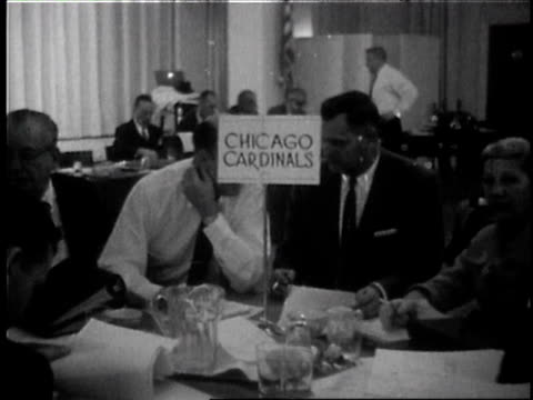 archival nfl draft featuring team owners and executives from several teams nfl draft on april 01 1959 in new york - 1950 1959 stock videos & royalty-free footage