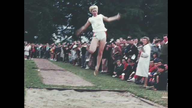 archive colour home movie footage of a british school sports day athletic event circa 1960. - 1960 stock videos & royalty-free footage