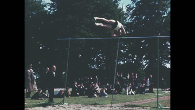 archive colour home movie footage of a british school sports day athletic event circa 1960. - contestant stock videos & royalty-free footage