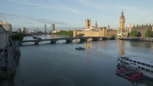 Archive footage of Big Ben and the Houses of Parliament from the London Eye