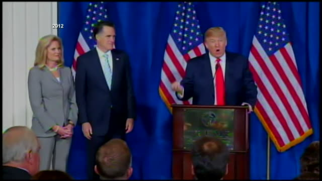 stockvideo's en b-roll-footage met archive footage of donald trump endorsing mitt romney in 2012. exact date not known. - bbc archives