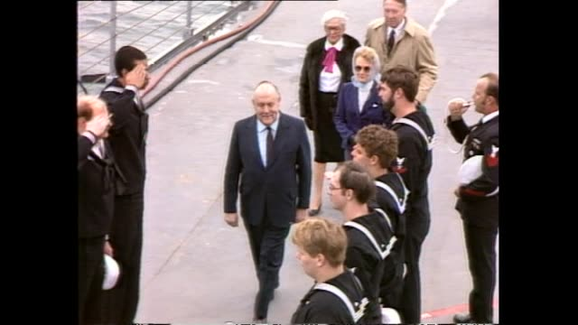 archive footage of new zealand prime minister robert muldoon visiting nuclear ship the uss texas in wellington - 1983 stock videos & royalty-free footage