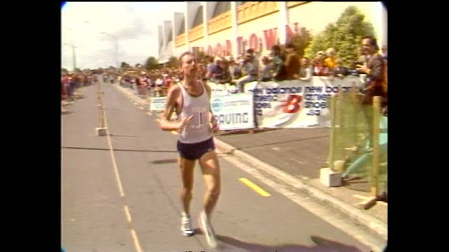 archive footage of olympic medallist dick quax running in the winstones people's marathon in manukau auckland - biography stock videos & royalty-free footage