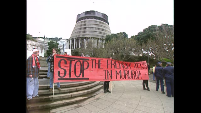 archive footage of protest march in wellington against french nuclear testing at mururoa atoll - südpazifik stock-videos und b-roll-filmmaterial