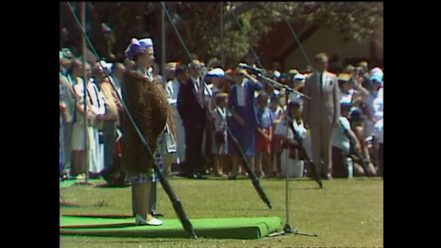 archive footage of queen elizabeth ii at waitangi for waitangi day celebrations during the 1990 royal tour to new zealand - baia delle isole nuova zelanda video stock e b–roll
