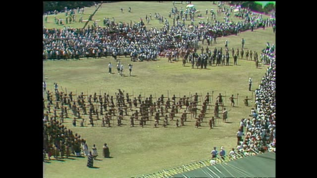 archive footage of queen elizabeth ii receiving a maori welcome at waitangi for waitangi day celebrations during the 1990 royal tour to new zealand - bay of islands new zealand stock videos & royalty-free footage
