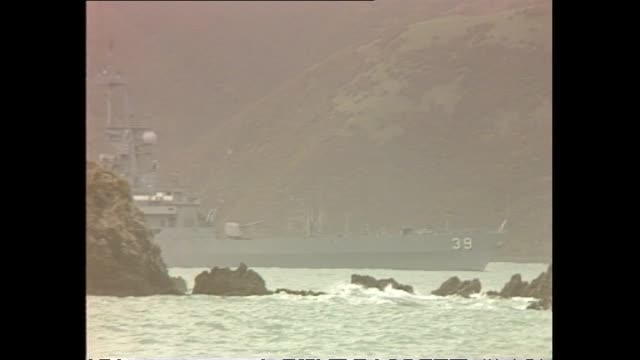archive footage of the uss texas leaving wellington harbour - 1983 stock videos & royalty-free footage