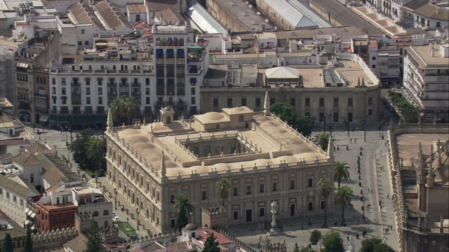 aerial ws archivo de indias / seville, andalusia, spain - de archivo stock videos & royalty-free footage