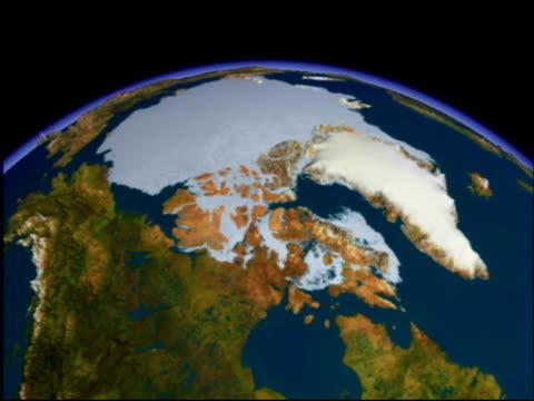 vídeos de stock, filmes e b-roll de arctic. animation showing first the surface view and then the ocean-depth (bathymetric) view of arctic.. - pólo norte