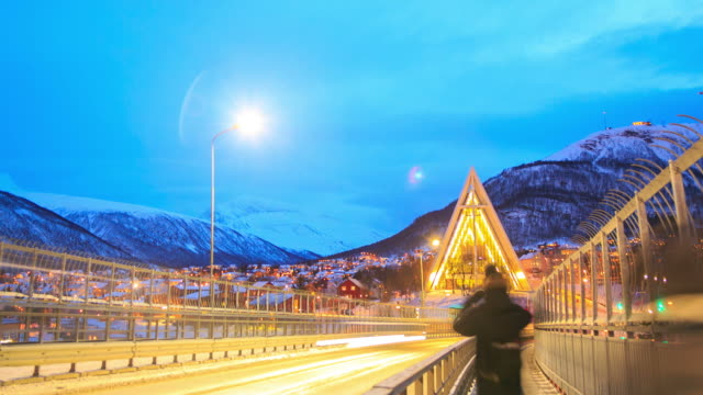 arctic cathedral action in winter at dusk, tromso troms, norway - cathedral stock videos & royalty-free footage