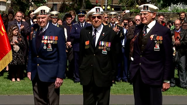 arctic convoy veterans awarded with russian bravery medals england london imperial war museum ext world war ii arctic convoy veterans gathered at... - lowering stock videos & royalty-free footage