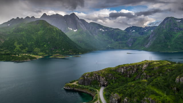 AERIAL: Arctic Fjord at Lofoten Islands, Norway