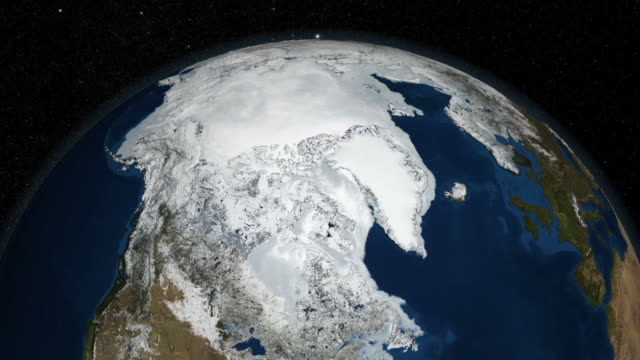 vidéos et rushes de 2007 arctic sea ice from amsr-e with greenland in foreground - climate change