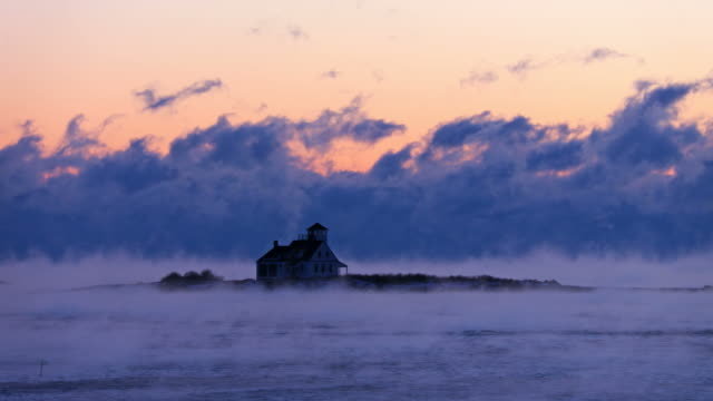 arctic sea smoke in portsmouth harbor - atmospheric mood stock videos & royalty-free footage