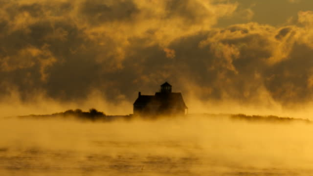 arctic sea smoke in portsmouth harbor - atlantic ocean stock videos & royalty-free footage