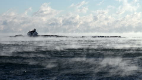 arctic sea smoke in portsmouth harbor - condensation stock videos & royalty-free footage