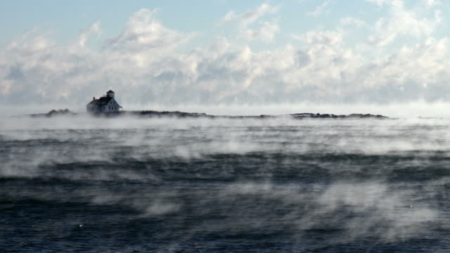 arctic sea smoke in portsmouth harbor - cold temperature stock videos & royalty-free footage