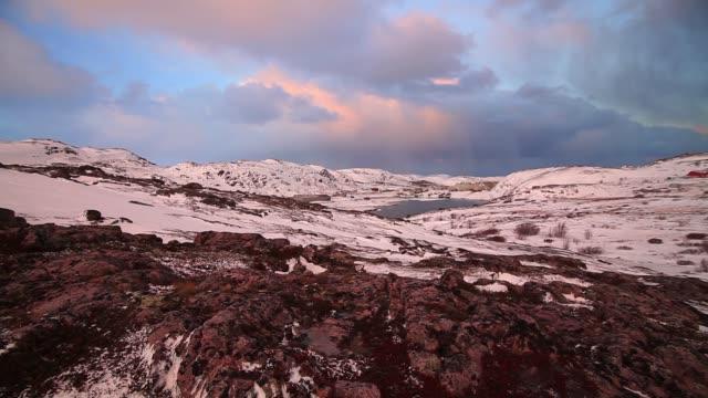 Arctic tundra at sunset