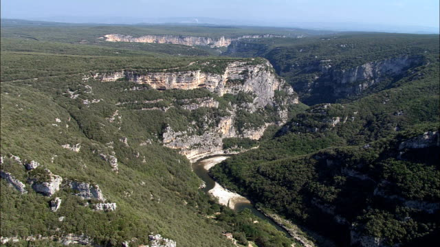 ardeche gorge  - aerial view - rhône-alpes, ardèche, arrondissement de largentière, france - ravine stock videos & royalty-free footage