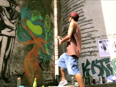are graffiti artists vandals or van goghs? sao paolo, brazil. - 50 seconds or greater stock videos & royalty-free footage
