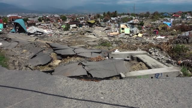 area affected by liquefaction at petobo village following the earthquake on october 12 2018 in palu indonesia the death toll from the earthquake and... - indonesia earthquake stock videos & royalty-free footage