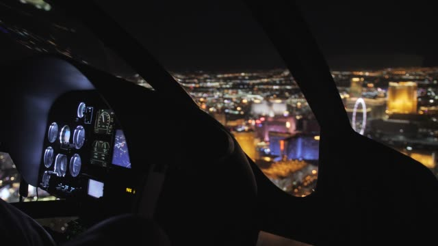 areal view and the maveric helicopter dashboard at night, las vegas boulevard, las vegas, nevada, usa, north america - vehicle interior stock videos & royalty-free footage