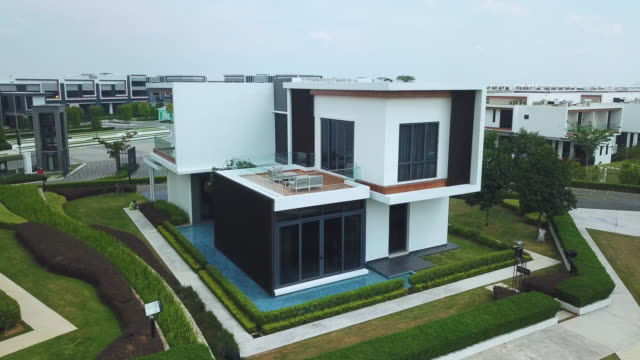 areal view of  two story modern suburban house - kuala lumpur stock videos & royalty-free footage