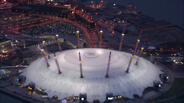 o2 arena at night available in hd - dome stock videos & royalty-free footage