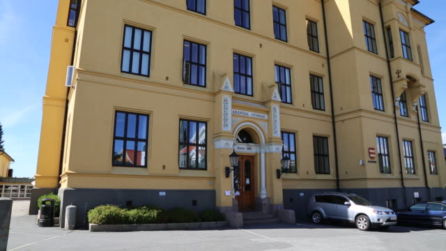 arendal, gymnas building (high school) - school building stock videos & royalty-free footage