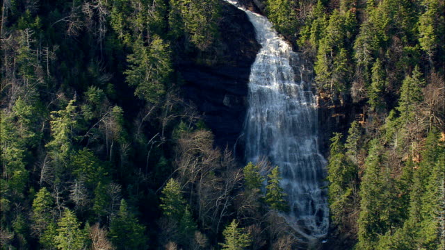 arethusa falls  - aerial view - new hampshire,  grafton county,  united states - new hampshire stock videos & royalty-free footage