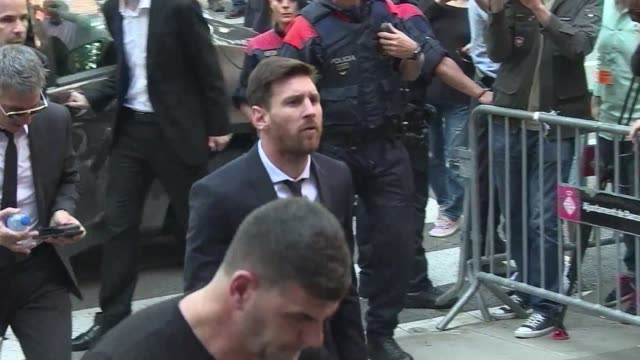 Argentina and Barcelona football star Lionel Messi one of the worlds highest paid athletes arrives at a Barcelona court to take the stand for the...