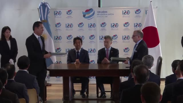 argentina and japan sign an agreement to become strategic partners at the g20 in buenos aires with argentine president mauricio macri saying it would... - mauricio macri stock videos and b-roll footage